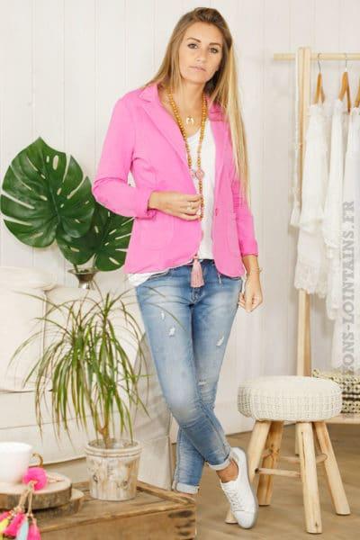 veste blaser jersey rose fushia étoile coudes sequins brillant look