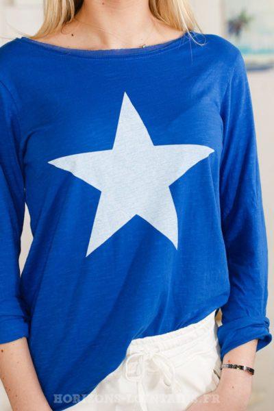 012 T-shirt à motif étoile bleu france look