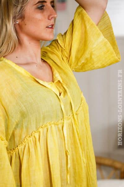 B075 Tunique fluide jaune manche 3-4 détail lacets