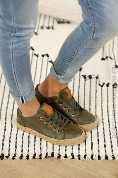 Baskets kaki effet cuir semelle corde