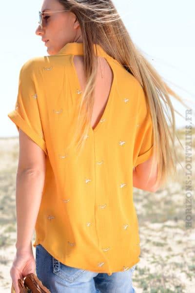 Chemise jaune moutarde motif oiseaux It Hippie