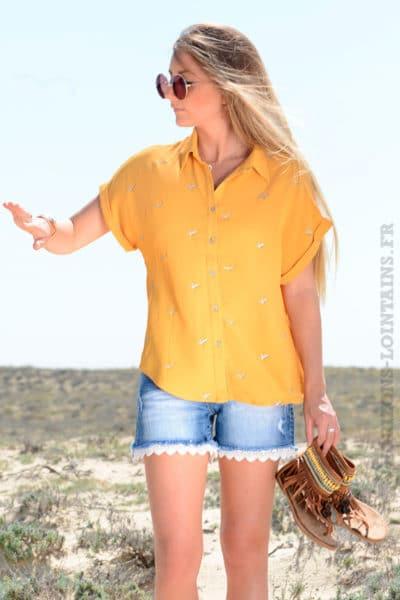 Chemise jaune moutarde motif oiseaux It Hippie idées tenues