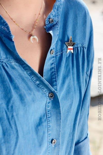 Chemise jean delavé moyen ample bleue