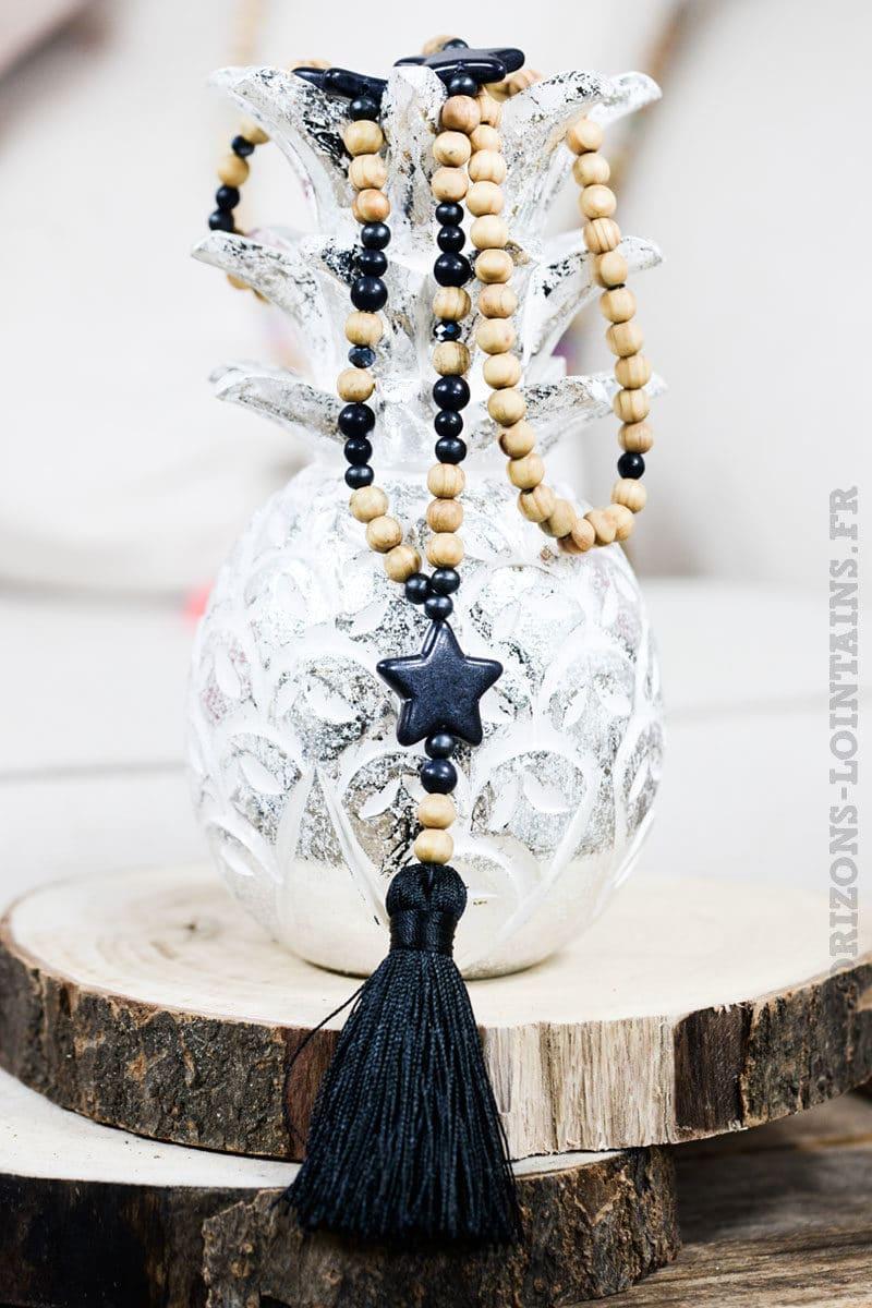 Collier perles bois étoiles noires