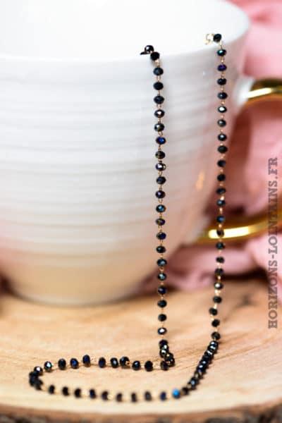 Collier petites perles facettes noires nacrées