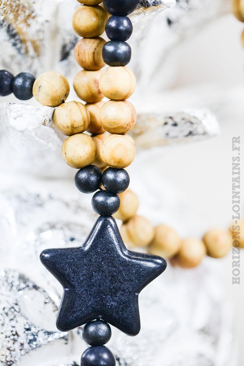 Collier sautoir perles bois étoiles noires