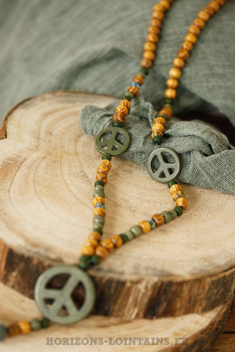 Bois Kaki Collier Pompon amp; Perles Lointains Love 3 Peace Horizons r0afrx5q
