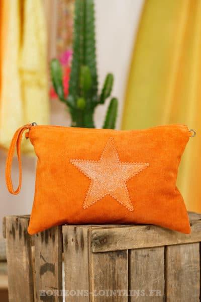 Grande pochette étoile cuir croûte brillante orange