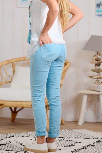 Jean bleu ciel, bandes perlées