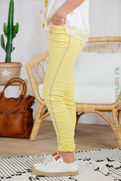 Jean jaune, bandes perlées