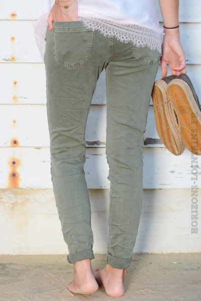 Jean stretch ceinture kaki