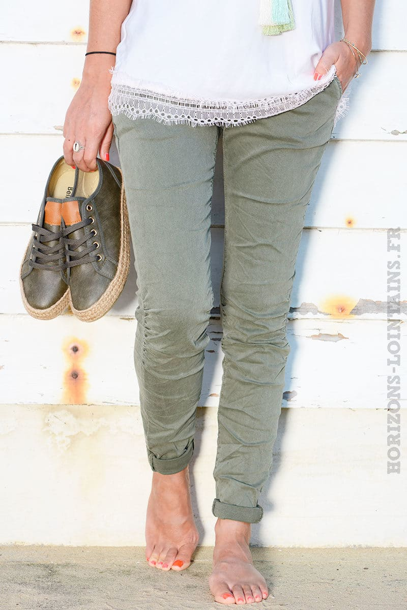 e1fe7dc4b341b Jean stretch ceinture vert kaki - Horizons Lointains