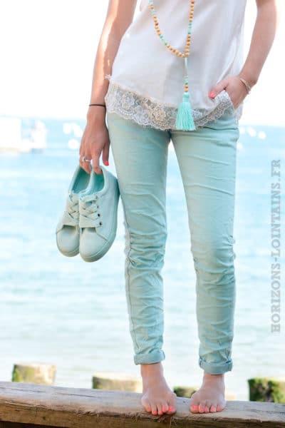Jean stretch ceinture vert d'eau