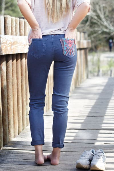 Pantalon-bleu-marine,-poches-et-ceinture-ethnique---Onado-b19-3
