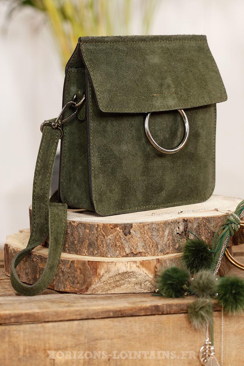 2ff907153e Petit sac rigide kaki, boucle rabat, croûte de cuir - Horizons Lointains