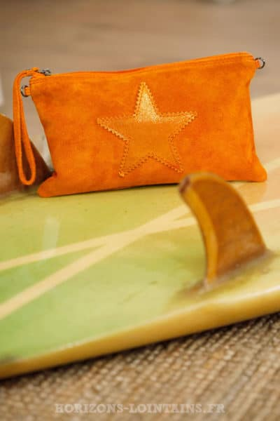 Pochette étoile brillante croûte cuir orange