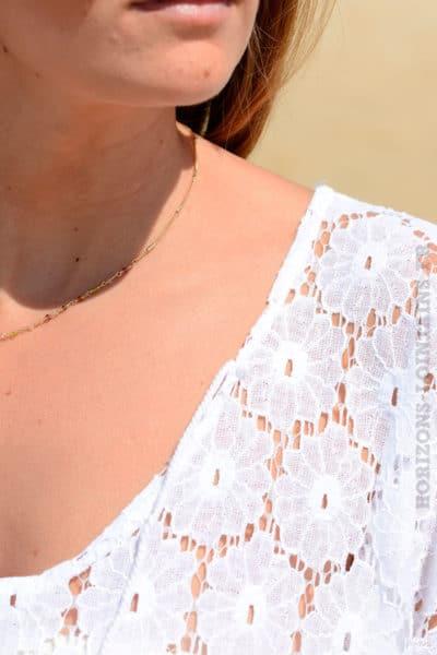 Robe blanche longue dentelle ajourée