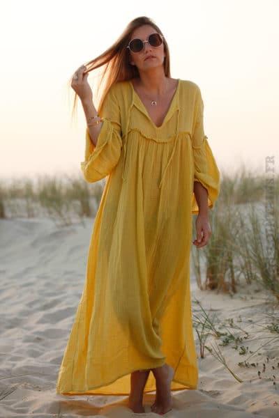Robe jaune moutarde longue voile de coton lacet col