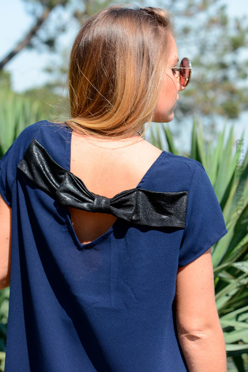 8bffa35abd4 Robe bleu marine nœud dos it Hippie