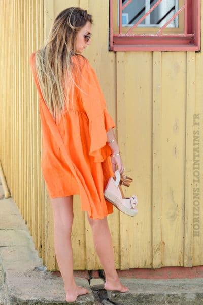 Robe-orange-en-lin,-manches-à-volants-B13