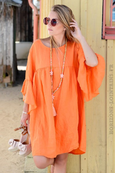 Robe-orange-en-lin,-manches-à-volants-B13-2