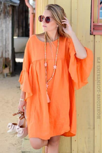 Robe orange en lin, manches à volants