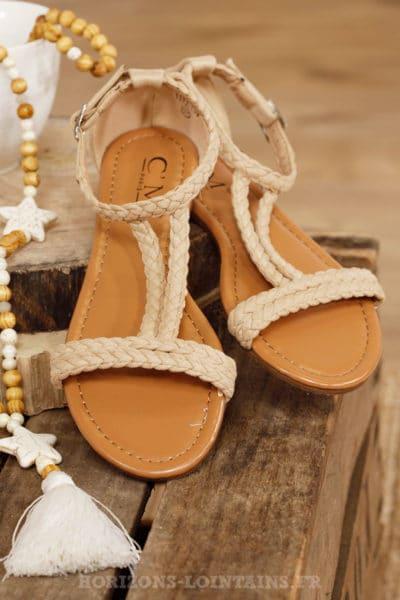 Sandales beiges tressées légère plage