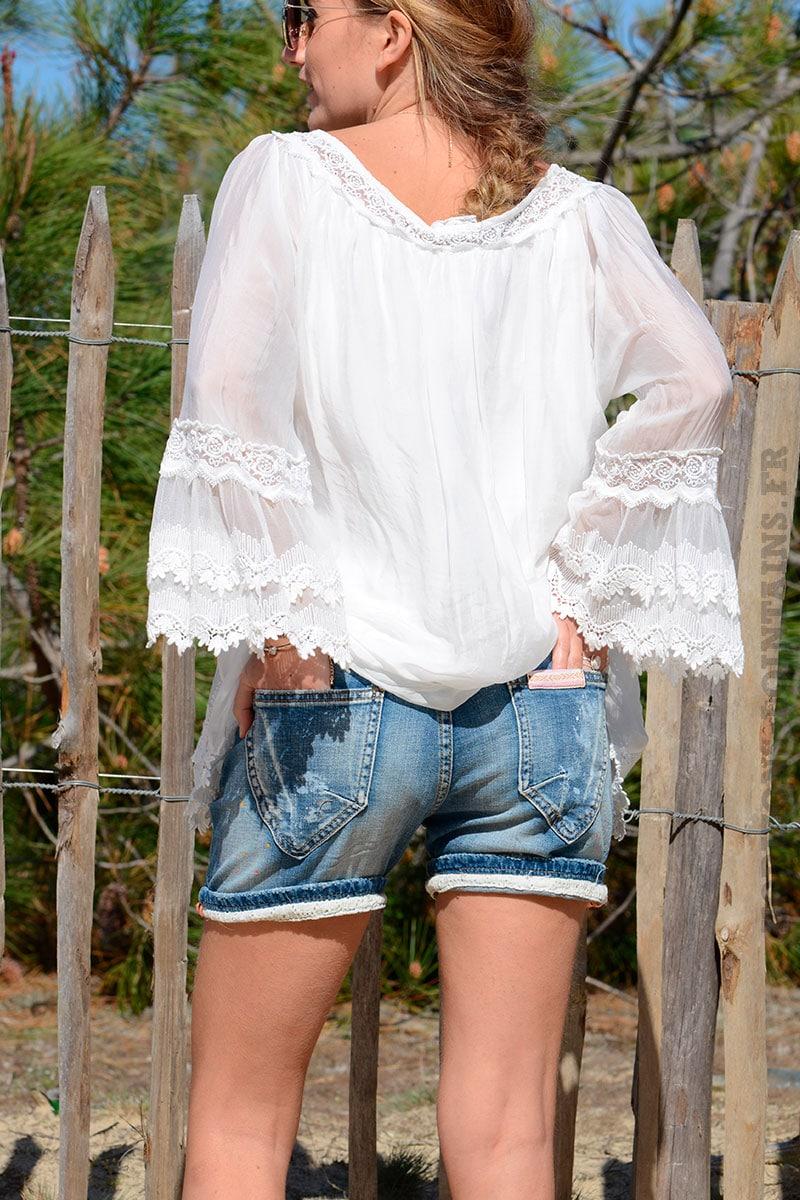 Short court en jean empiècements   ceinture pompon - Horizons Lointains 8a2c471571f