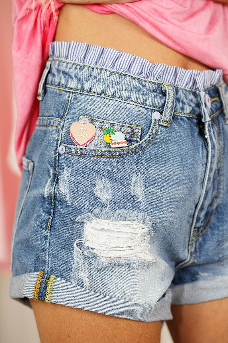 Short en jean destroy ceinture froufrou rayée - Horizons Lointains fcd9906687e