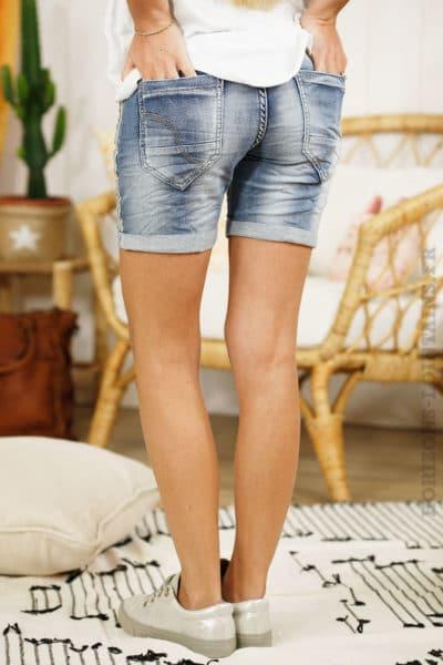 Short jean délavage moyen bandes tissus
