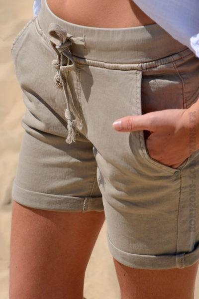 Short matière jean stretch beige