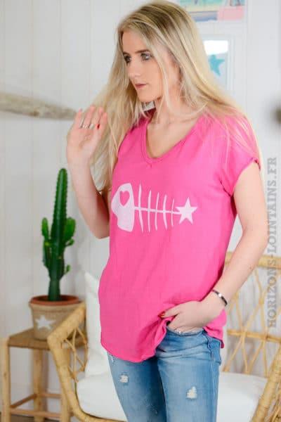 T-shirt-fushia,-arête-de-poisson-B96-3