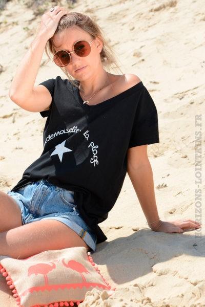 T-shirt-noir-mademoiselle-à-la-plage--B85-2