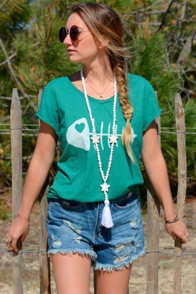 T-shirt vert, arête de poisson
