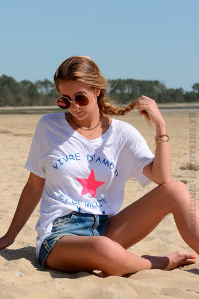 T-shirt blanc ample message vivre d'amour et de mojitos