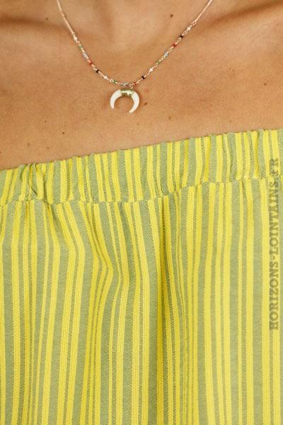 Top tunique fines rayures verticales jaunes et grises col bardot manches à volants détail motif texture TOP B074