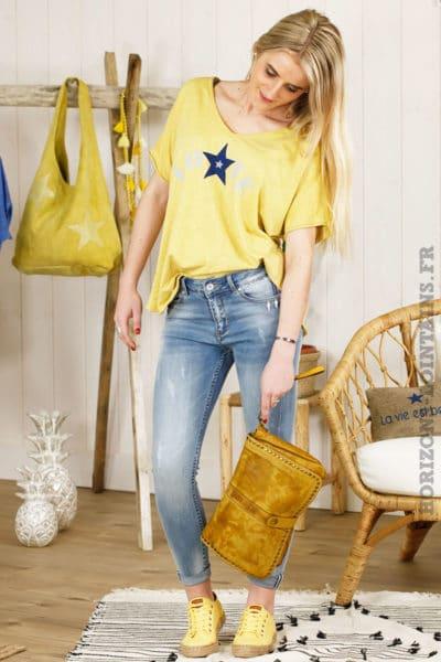 Tshirt jaune moutarde love étoile imprimée bleu marine 054