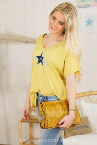 Tshirt jaune moutarde love étoile imprimé bleu marine 054
