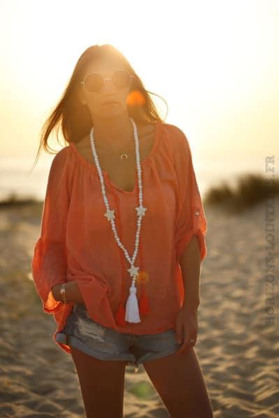 Tunique orange voile coton basique coupe ample