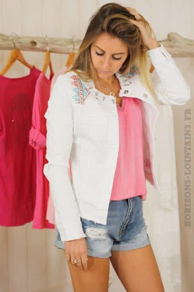 Veste blanche jean broderie ethnique multicolore
