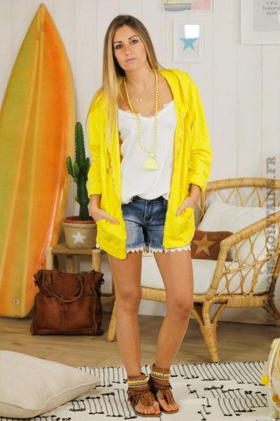 Veste sweat capuche jaune fermeture éclair étoile sequins coudes