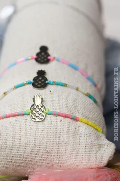 bracelets perles colorées ananas acier argenté