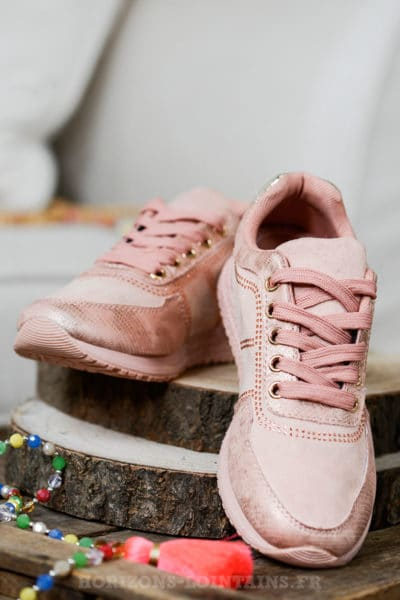 Baskets rose argenté & strass, style chaussures running