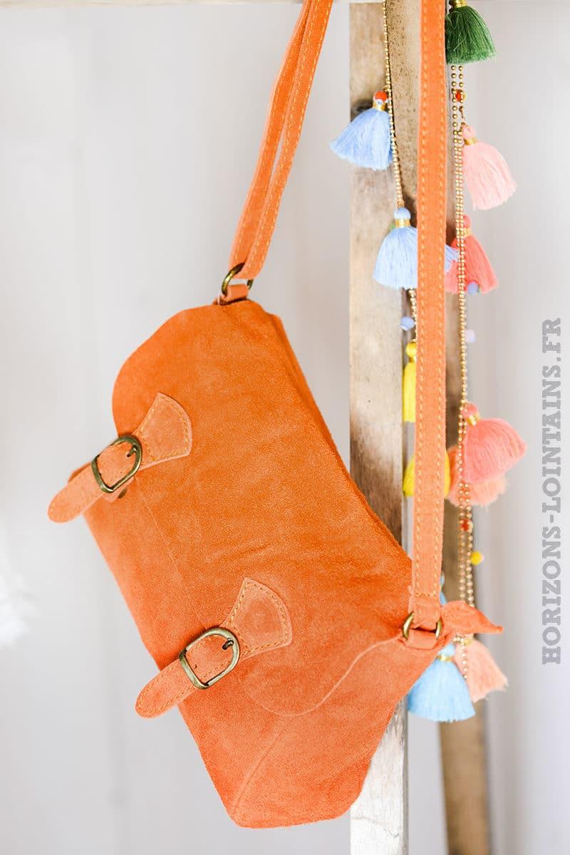 petit sac cartable orange matière croûte cuir