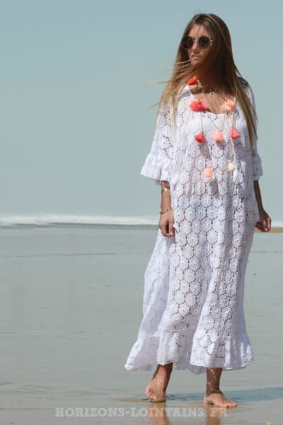 robe blanche longue dentelle printemps été