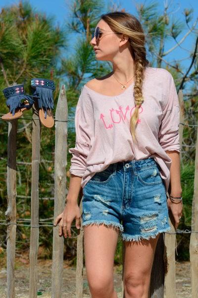 t-shirt rose poudré love manches longues