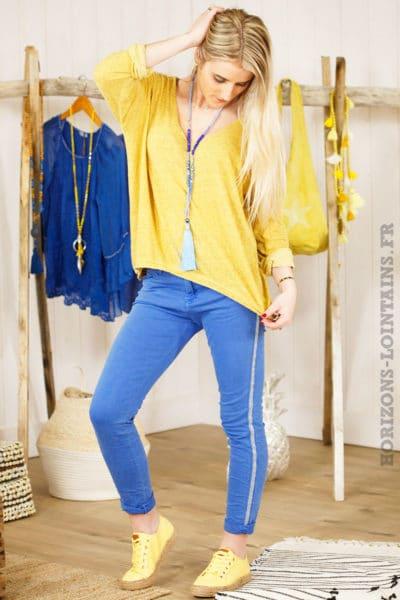 top jaune moutarde chiné basique manches longues