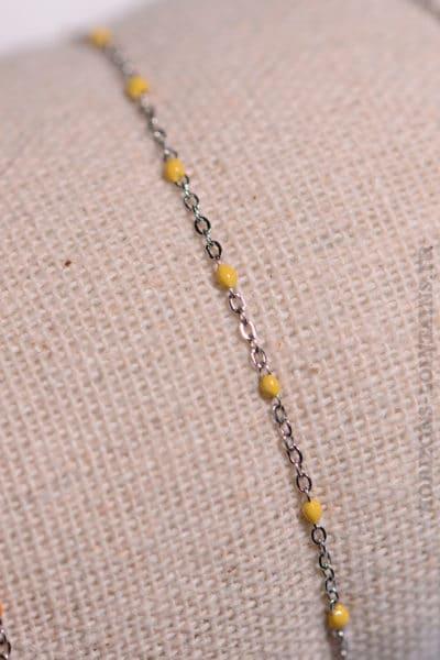 Bracelet-chaine-argent-perles-jaune-084