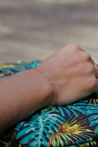 Bracelet-chaîne-rose-gold-perles-bleu-BRA-083