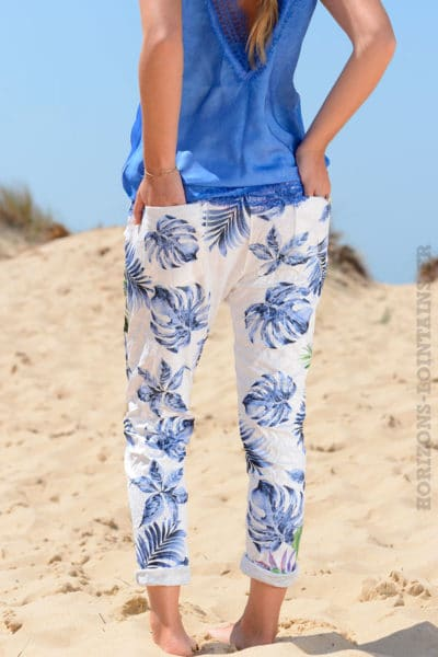 Pantalon-confort-bande-élastique-motif-exotique-bleu-B36
